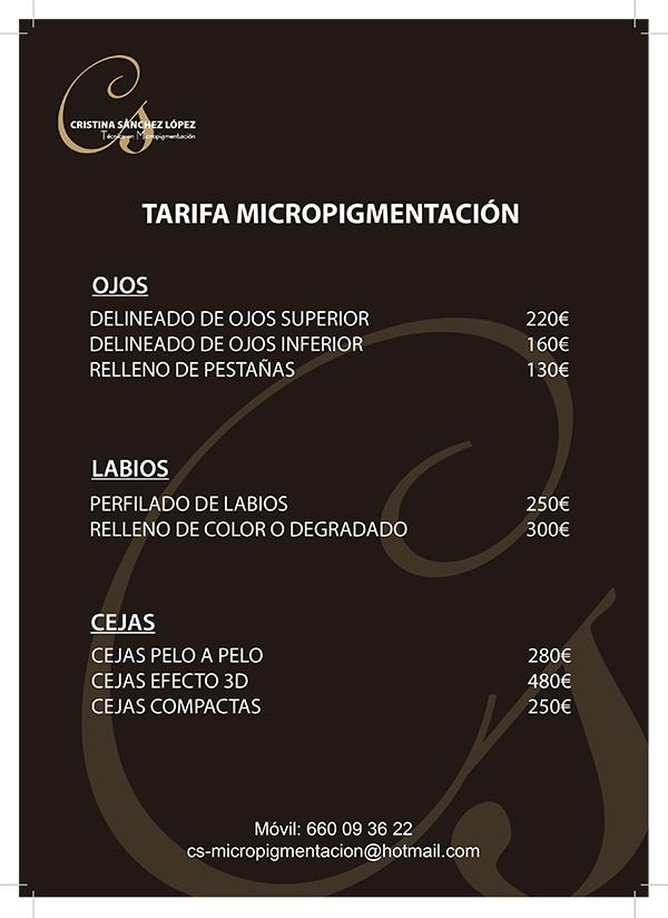 lista precios - Diseño logotipo Cristina Sánchez López Micropigmentación
